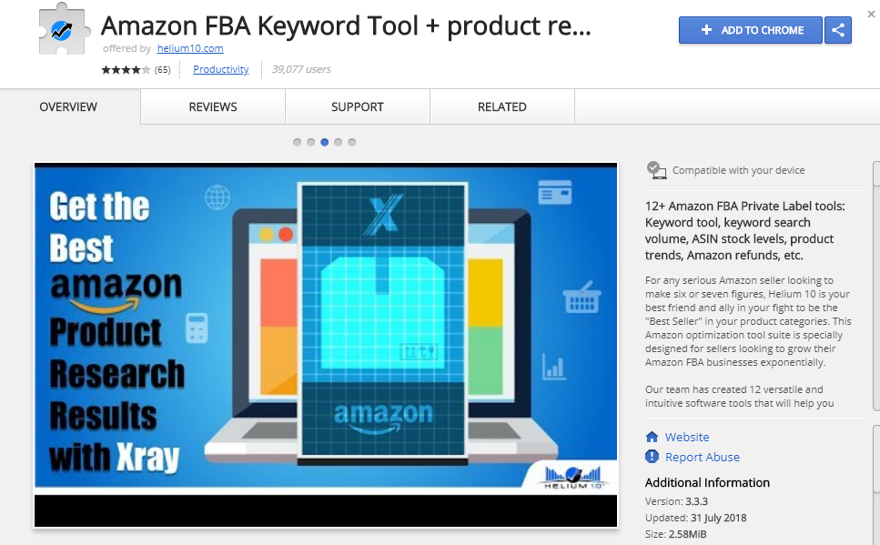 Amazon Extension Amazon FBA Keyword Tool