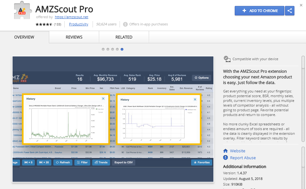 AMZScout Chrome Amazon Extension