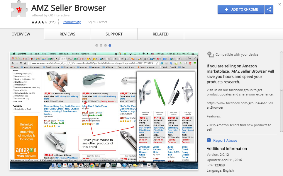 AMZ Seller Browser Amazon Extension