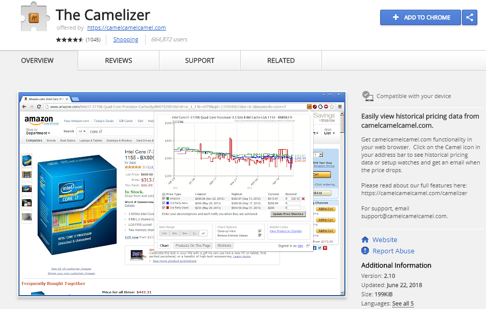 The Camerlizer Amazon Extension