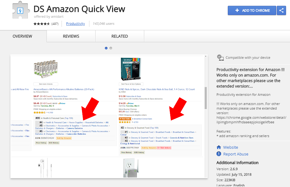 DS Amazon Quick View Amazon Extension